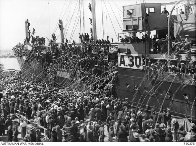 Troops on board HMAT Borda (A30) prior to departure.