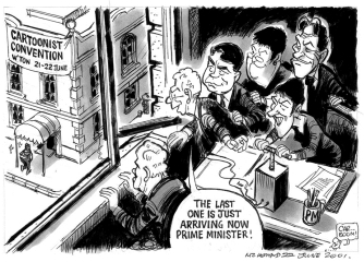 Malcolm Evans' take on the Cartoonists' Convention in June 2001.