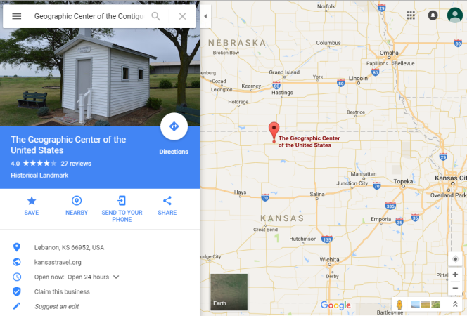 Google map showing the location designated 'the geographic centre of the USA'.