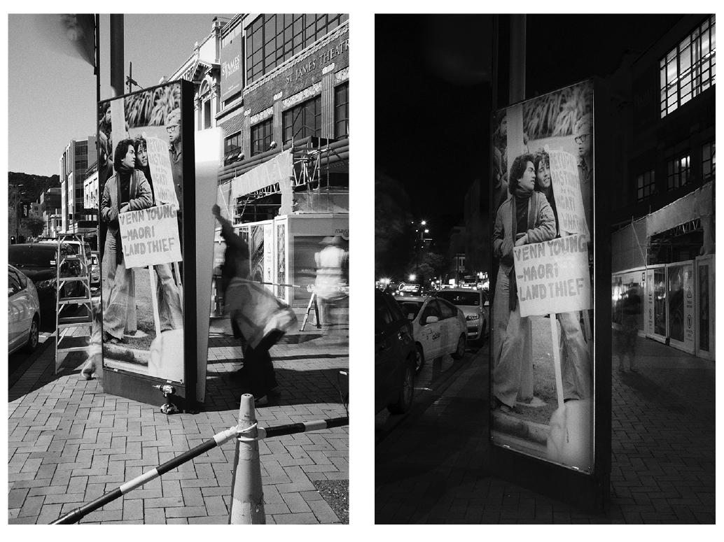 Two side by side images showing the same street scene of a large lightbox containing image of protester, the image on the left was taken during the daytime and on the right, nighttime.