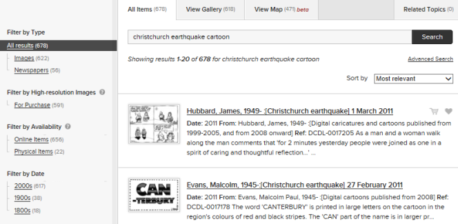 Search results page for 'christchurch earthquake cartoon', showing collection items, and filters that can be used to narrow down results by format and date.