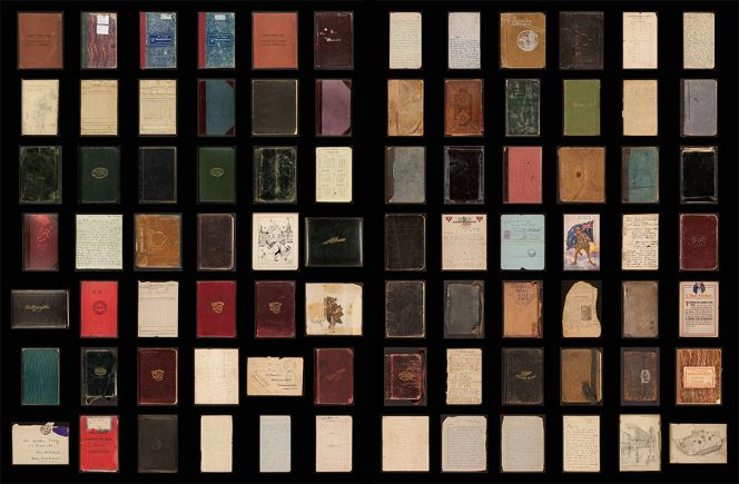 Covers of diaries digitised by the library.