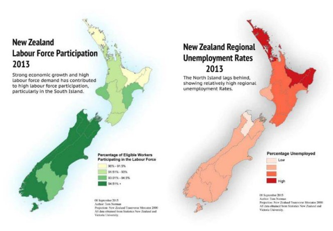 Two maps of New Zealand, showing different approaches to narrative. The first is framed as showing labour force participation.