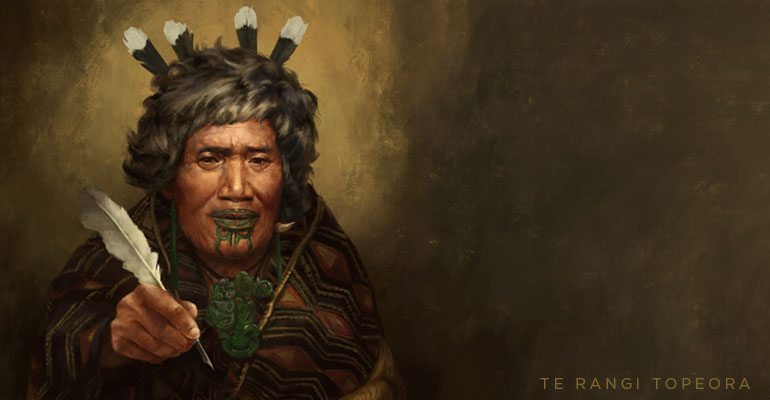 Te Rangi Topeora, offering the quill she used to sign.