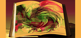 Book with a swirling pattern.