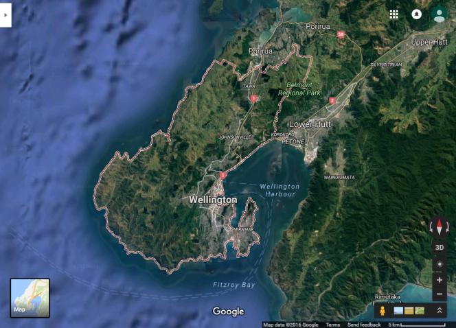 Google Earth view of the Wellington region.