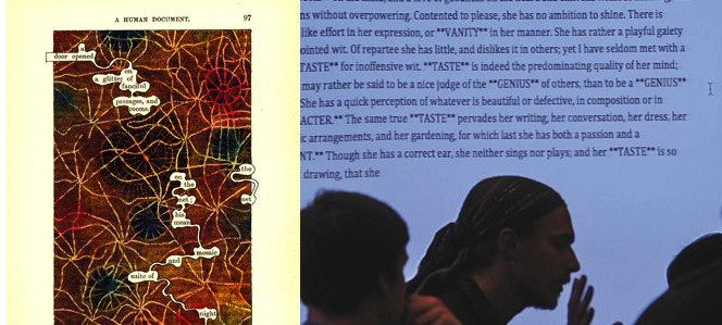 Page of The Humument, showing a few words highlighted to generate a new narrative; Students passing novel texts through machine reading.