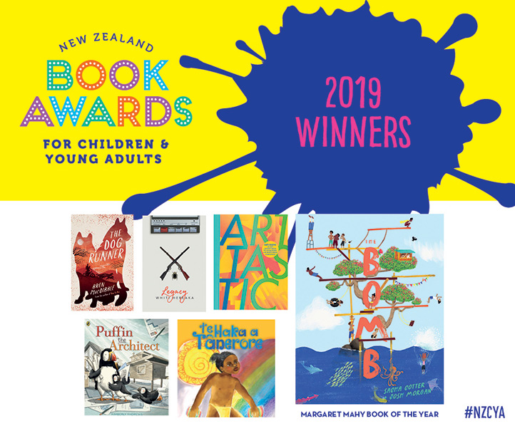 Poster showing winning books for the 2019 New Zealand Book Awards for Children & Young Adults