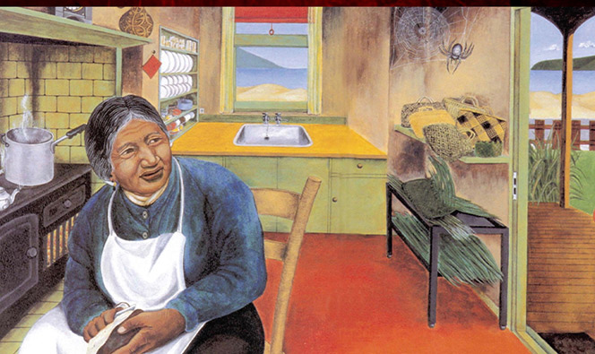 An older woman sitting in her kitchen looking at a spider and its web in the corner of her house.