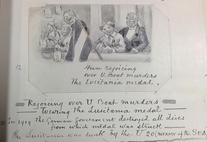Hun rejoicing over U boat murders The Lusitania medal.