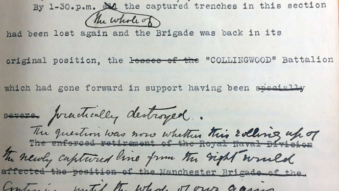 Detail from page 45. It shows annotated typewriting.
