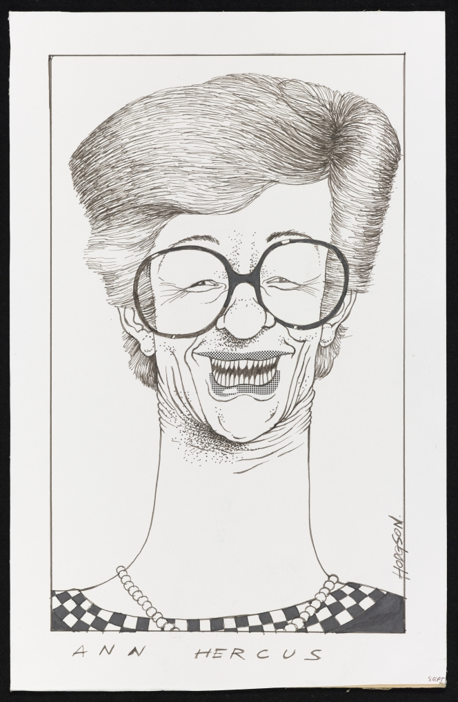 Head and shoulders caricature of Ann Hercus, about 1979. Her glasses sit large on her face, and her exaggerated grin shows numerous teeth which appear large and pointed. Her neck is also overly long and wide.