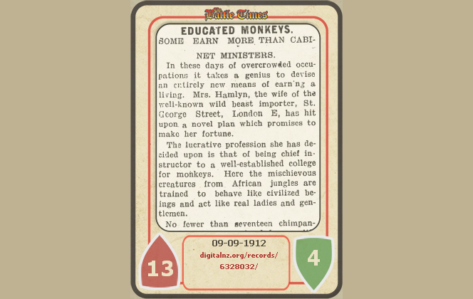 'Educated monkeys' card, using an article about using monkeys for entertainment. It has 6 attack and 6 health.