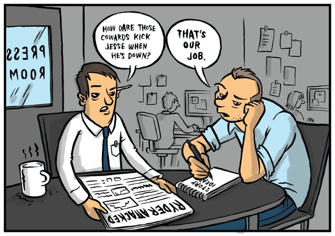 Cartoon by Toby Morris, showing two press reporters complaining about Jesse Ryder being assaulted.