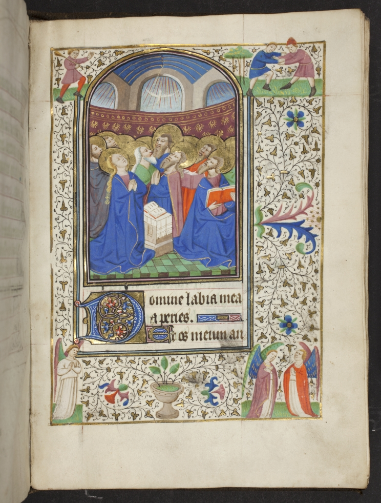 Miniature of Pentecost from a Book Hours, France (possibly Dijon or Besanҫon).