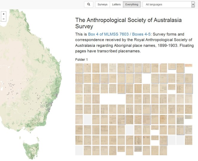 Grid of pages of survey forms received by the Royal Anthropological Society of Australia regarding Aboriginal place names at the turn of the 20th century.