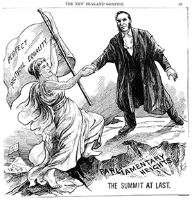 Cartoon shows woman climbing the Parliamentary Heights and a man reaching out his hand to help her to get to the top of the summit.
