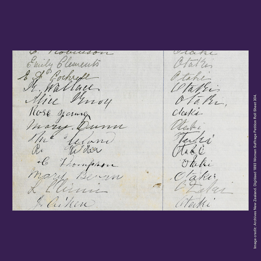 Front of curiosity card CC0011, with an image of Suffrage Petition signatures including that of Mere Hakaraia who signed as Mary Bevan