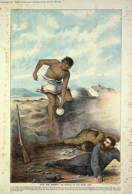 *'For His Enemy' — An Episode of the Māori War*. Chromolithograph, Wilson & Horton, Auckland, 1895. This picture shows a Māori man bringing water to an injured Pākehā soldier. A dead Māori warrior lies in the trench behind the soldier.  [For his enemy](/files/schools/hm68-for-his-enemy-english.mp3)