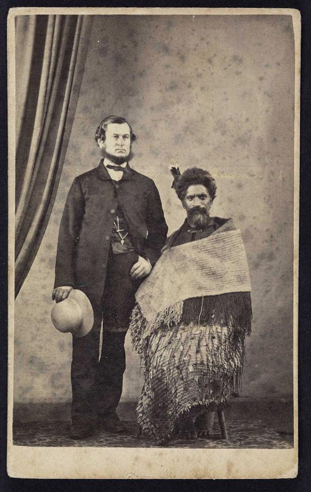 Titus Angus White and an unidentified Maori man, circa 1860.