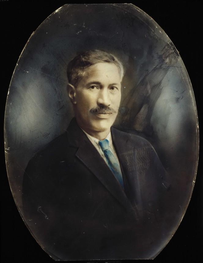 Coloured portrait of Otene Paora, Ngati Wharua leader.