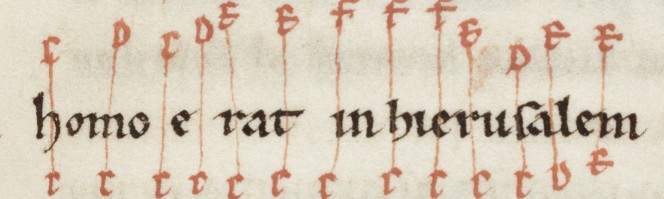 Detail of f.91, showing two voices moving independently