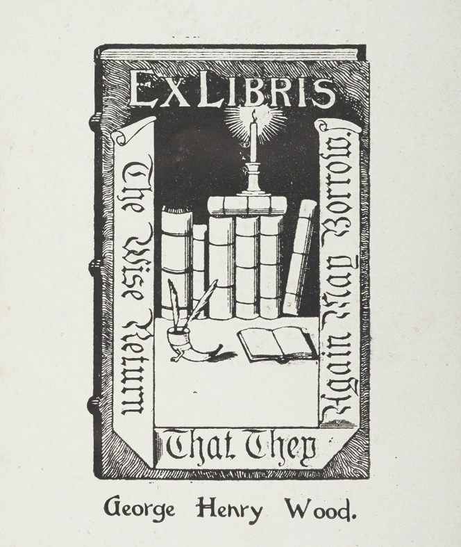 George Henry Wood's bookplate for Puck on Pegasus, showing a desk covered with books, lighted by candle.