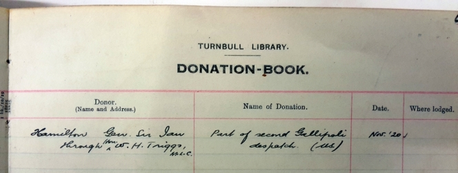 ATL Donation Book Vol 1. Shows the Donor and name of the donation, the date and where the donation was lodged.