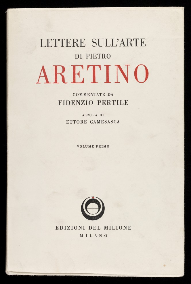 Cover of Pietro Aretino's Lettere sull'arte, very cleanly lettered.