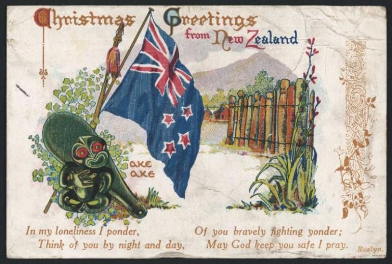 Christmas greeting card, showing New Zealand flag, hei tiki and patu, among other New Zealand symbols.