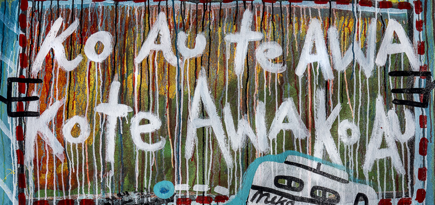 Banner with the Maori proverb  Ko au te awa, ko te awa ko au — I am the river and the river is me.