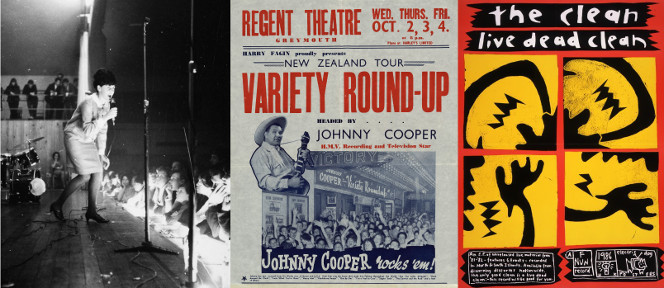 Three images: Maria Dallas performing on stage; Poster for the Variety Round Up with Johnny Cooper; Poster for Live Dead Clean.
