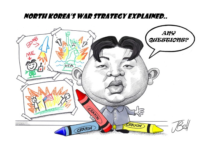 Cartoon by Jeff Bell, showing Kim Jong-Un with a crayon drawing plan to bomb the United States