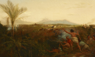 Landscape painting, with Mt Taranaki in the background, showing a group of Māori exchanging gunfire with settlers. A second group of Māori are driving cattle and horses away.
