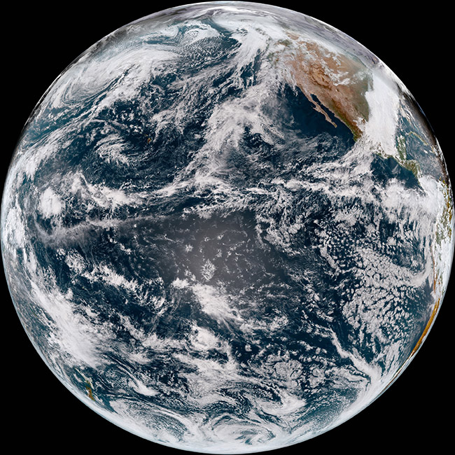 An image of Earth from space, shows the vast Pacific Ocean. The Pacific Ocean is the largest and deepest ocean on Earth. It spans 161.8 million square kilometres and in certain areas is over 10 kilometres deep. If you put all Earth's landmasses together, the Pacific Ocean would still be bigger.  [Pacific Ocean](/files/schools/hm94-pacific-ocean-english.mp3)