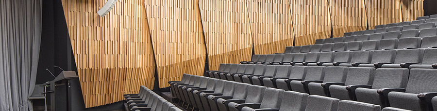 Seating and  wooden panelling in Tiakiwai auditorium.