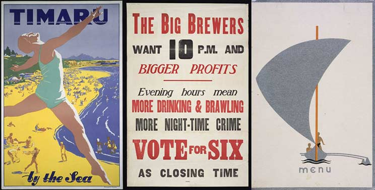 3 images side by side, a woman in a swimming costume, a poster in support of closing bars with its 'vote for six' slogan in red and the menu for the Oceanic Steamship Company's farewell dinner honoring passengers disembarking in Auckland showing an Art Deco depiction of a sailboat on the cover.