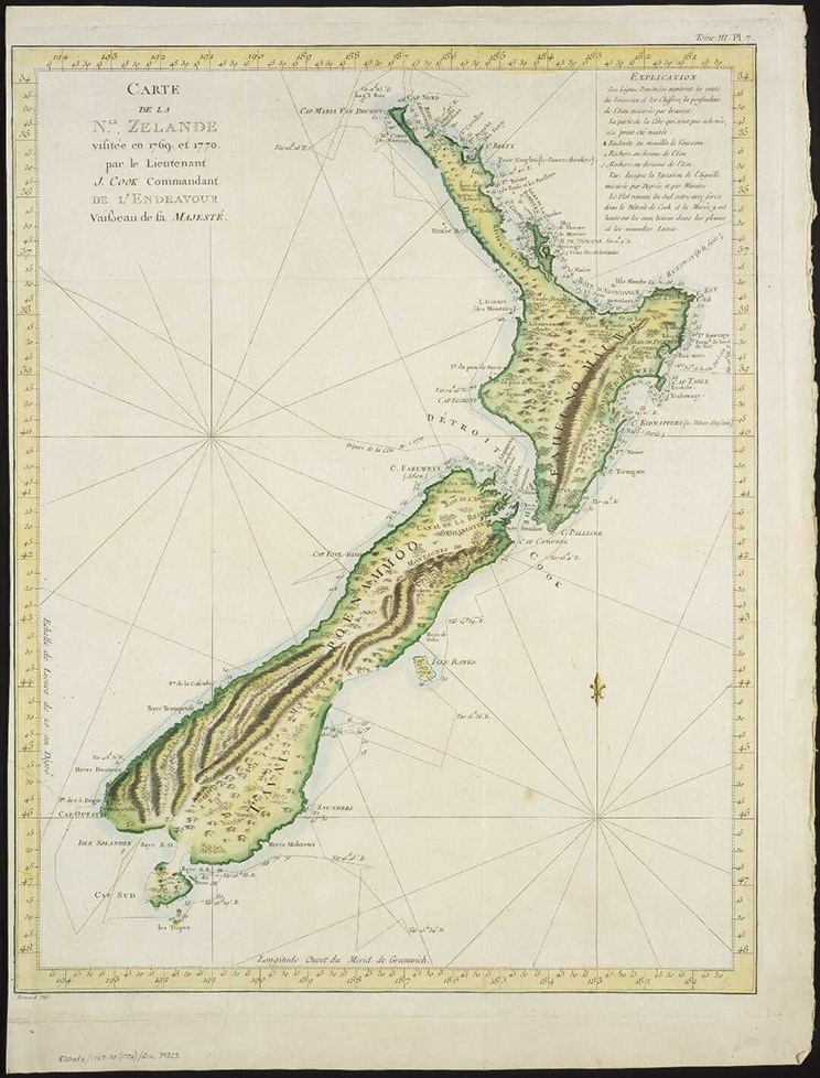 Map of New Zealand from 1774.