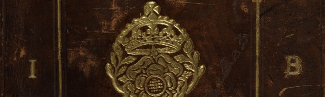 Upper cover showing the rose and crown stamp and initials I.B.