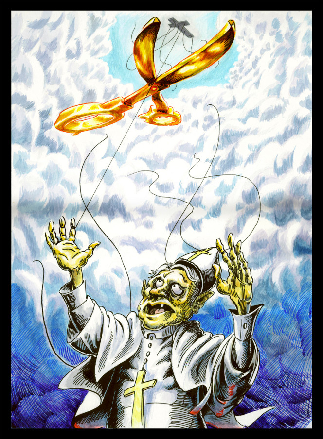 Cartoon by Cory Mathis showing Pope Benedict as a marionette puppet, with strings being cut by a golden pair of scissors.