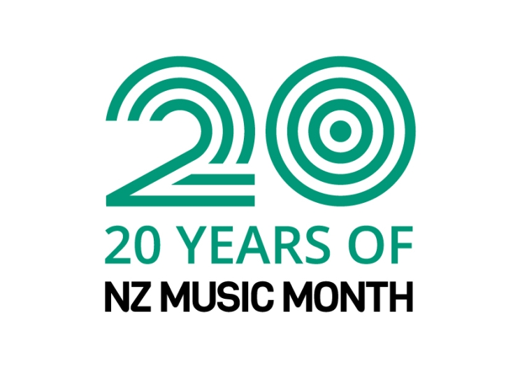Logo for NZMM 2020 says: '20 years of NZ Music Month'.