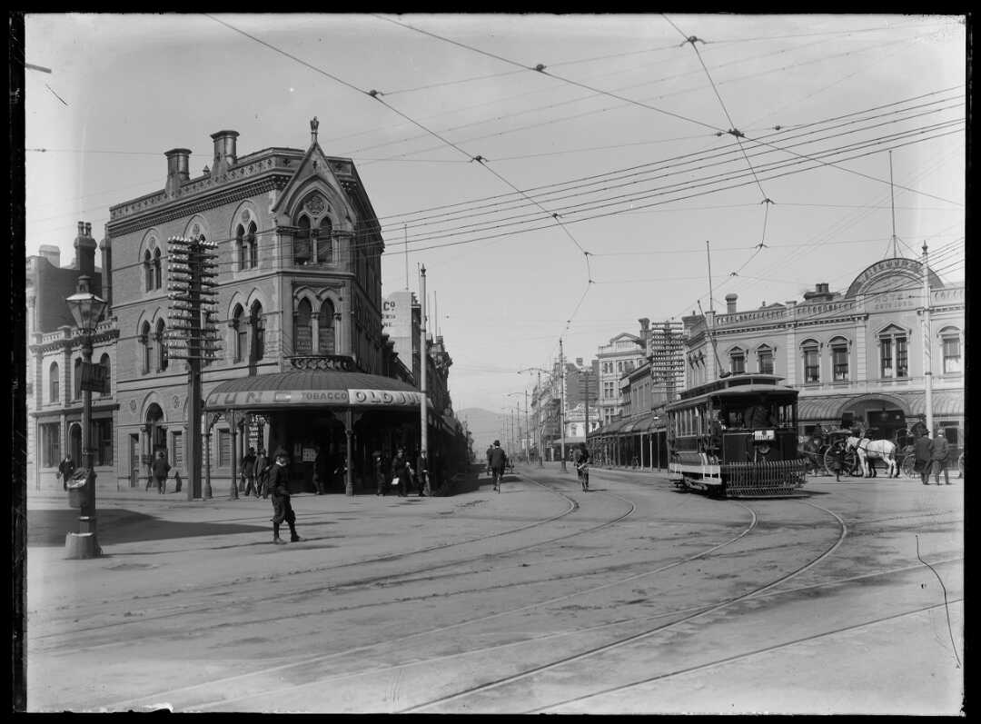 The intersection of Colombo Street, Hereford Street and High Street, Christchurch, ca 1880s-1920s.