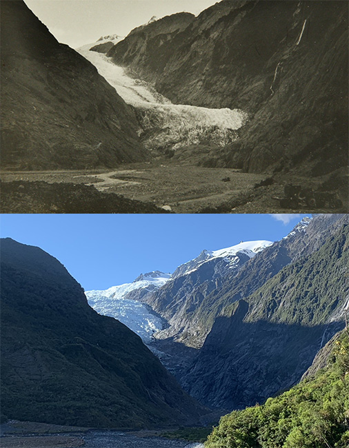 Franz Josef Glacier, 1965 (above) and 2018. The two photographs of the valley show the retreat of the glacier over time.  [Franz Josef Glacier](/files/schools/hm102-franz-joseph-glacier-english.mp3)