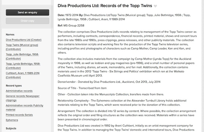 Screenshot of the Diva Productions collection record page, showing the finding aid text written by Arrangement and Description.