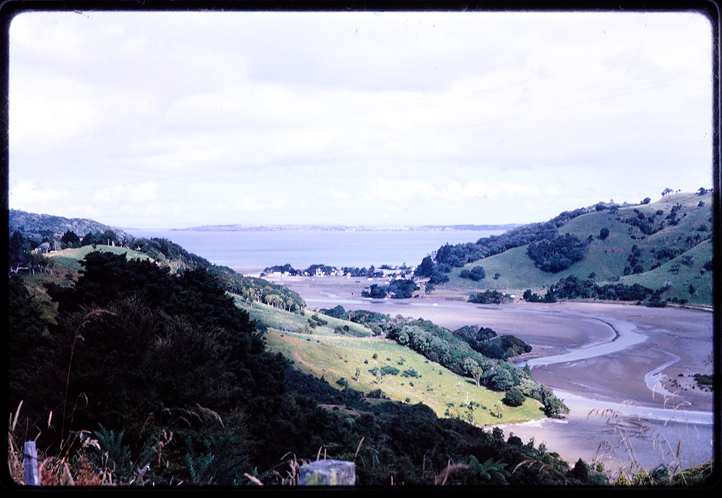 Colour slide of the estuary at Waiwera beach in 1965