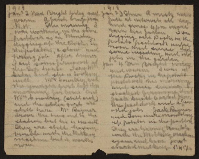 Cox diary entries for Jan 2-4, 1918.