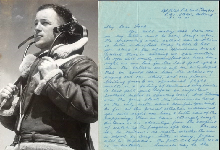 Side by side images showing a portrait of Rex Weber on the right and on the left is his handwritten letter in blue ink.