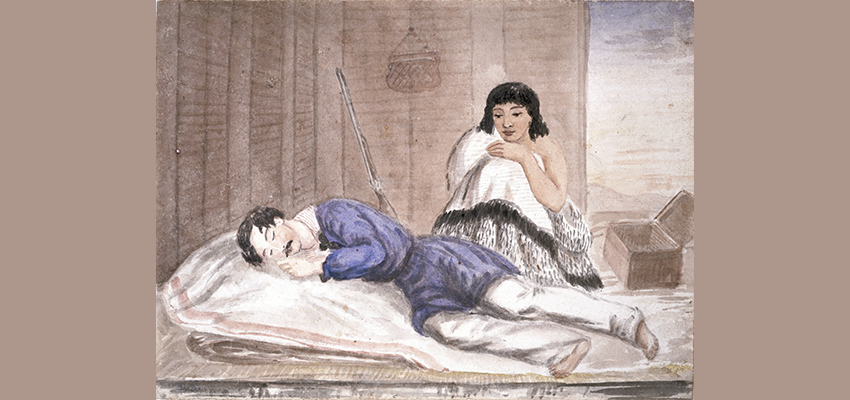 Soldier asleep in a whare, being watched over by a Maori woman
