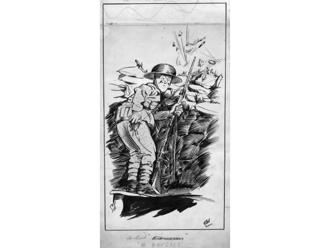 Cartoon showing a soldier happy to have been shot, as he can now be invalidated home.