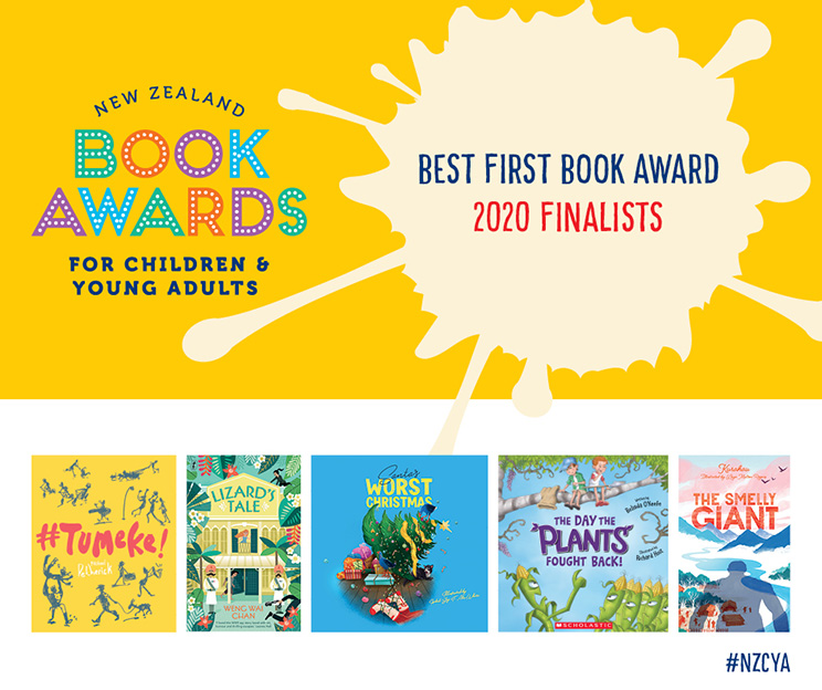 Best First Book Award promotional image with New Zealand Book Awards logo and thumbnail images of book covers